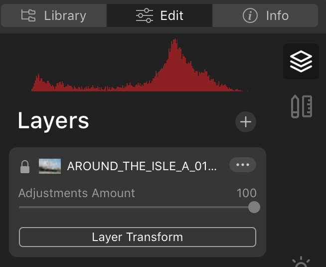 layers adjustments amount