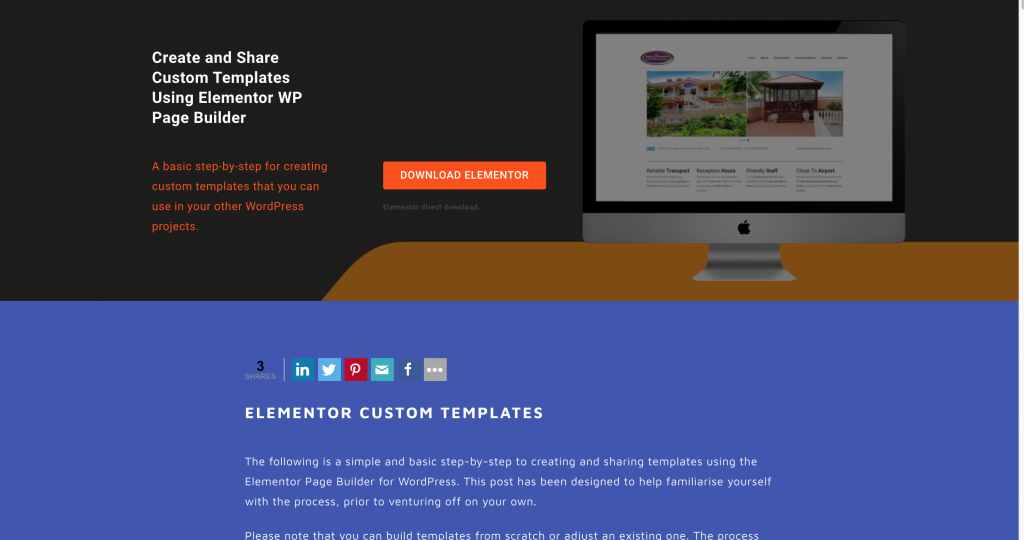 elementor page builder land page example 2