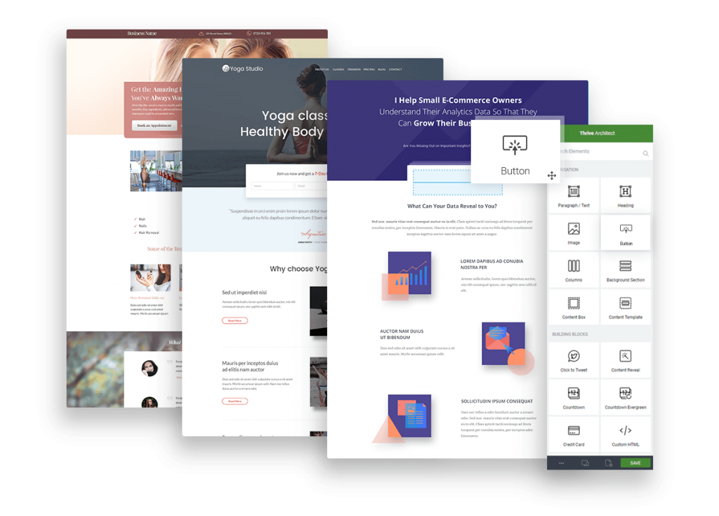thrive architect page examples