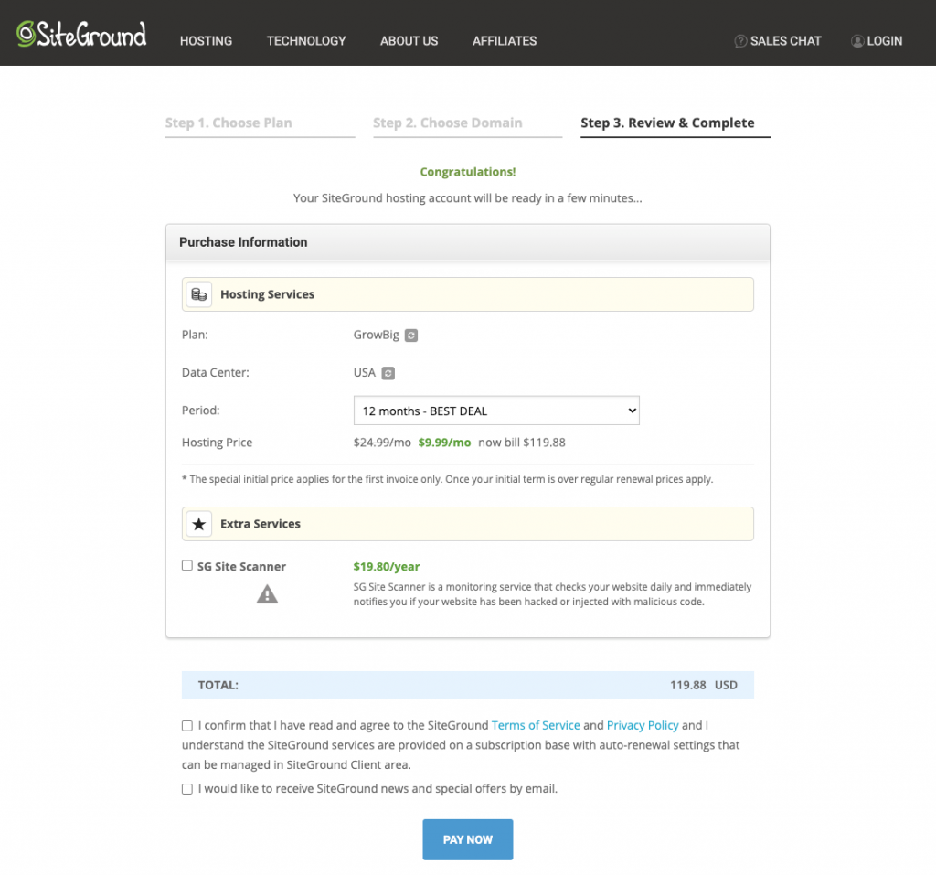 siteground complete order