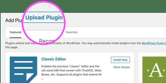 add new and upload plugin