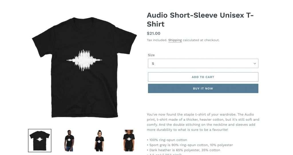 audio print tshirt