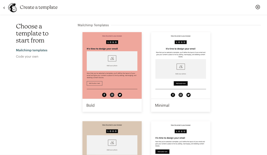 templates page start